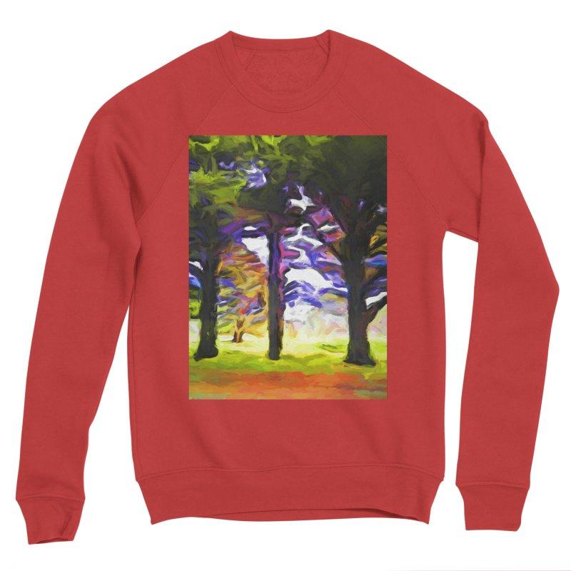 Trees in Row with Pink Branch Men's Sponge Fleece Sweatshirt by jackievano's Artist Shop