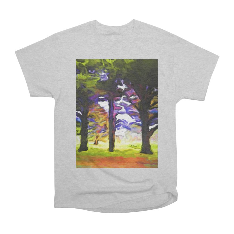 Trees in Row with Pink Branch Women's Heavyweight Unisex T-Shirt by jackievano's Artist Shop