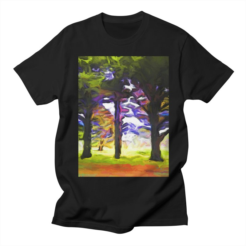 Trees in Row with Pink Branch Men's Regular T-Shirt by jackievano's Artist Shop