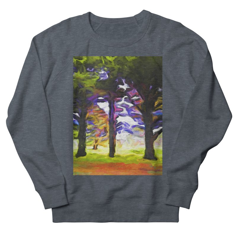 Trees in Row with Pink Branch Men's French Terry Sweatshirt by jackievano's Artist Shop