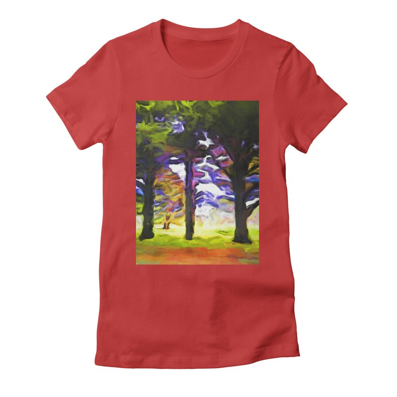 Trees in Row with Pink Branch Women's Fitted T-Shirt by jackievano's Artist Shop