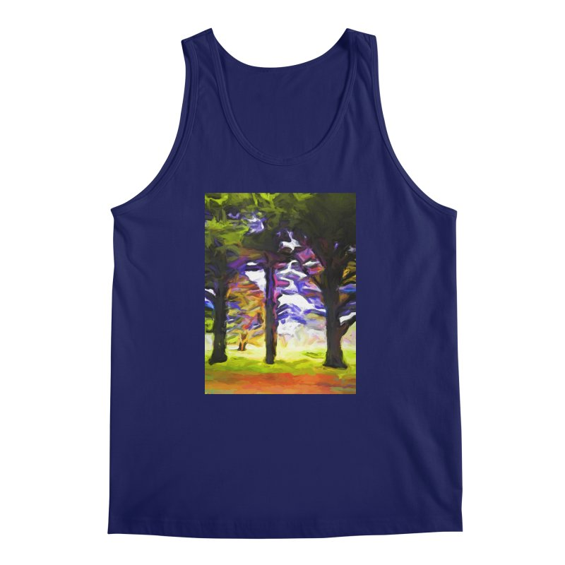 Trees in Row with Pink Branch Men's Regular Tank by jackievano's Artist Shop
