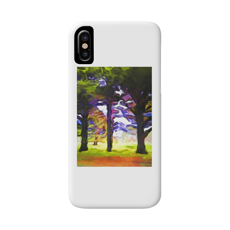Trees in Row with Pink Branch Accessories Phone Case by jackievano's Artist Shop