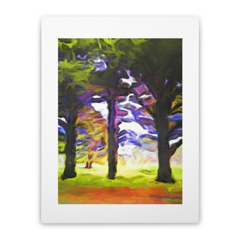 Trees in Row with Pink Branch Home Stretched Canvas by jackievano's Artist Shop