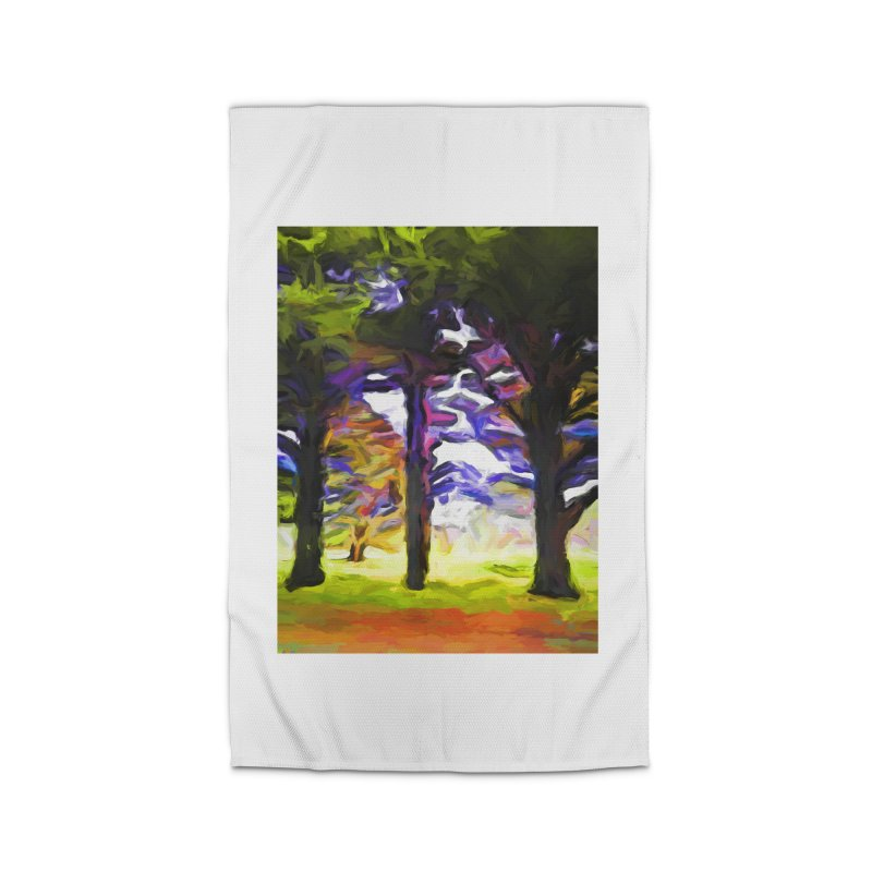Trees in Row with Pink Branch Home Rug by jackievano's Artist Shop