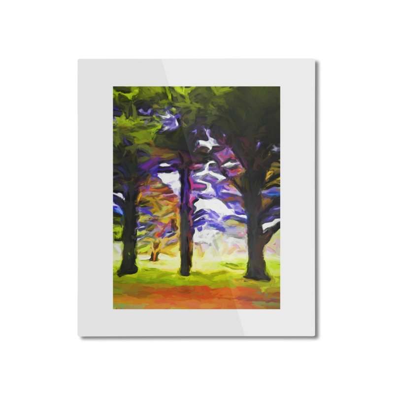 Trees in Row with Pink Branch Home Mounted Aluminum Print by jackievano's Artist Shop