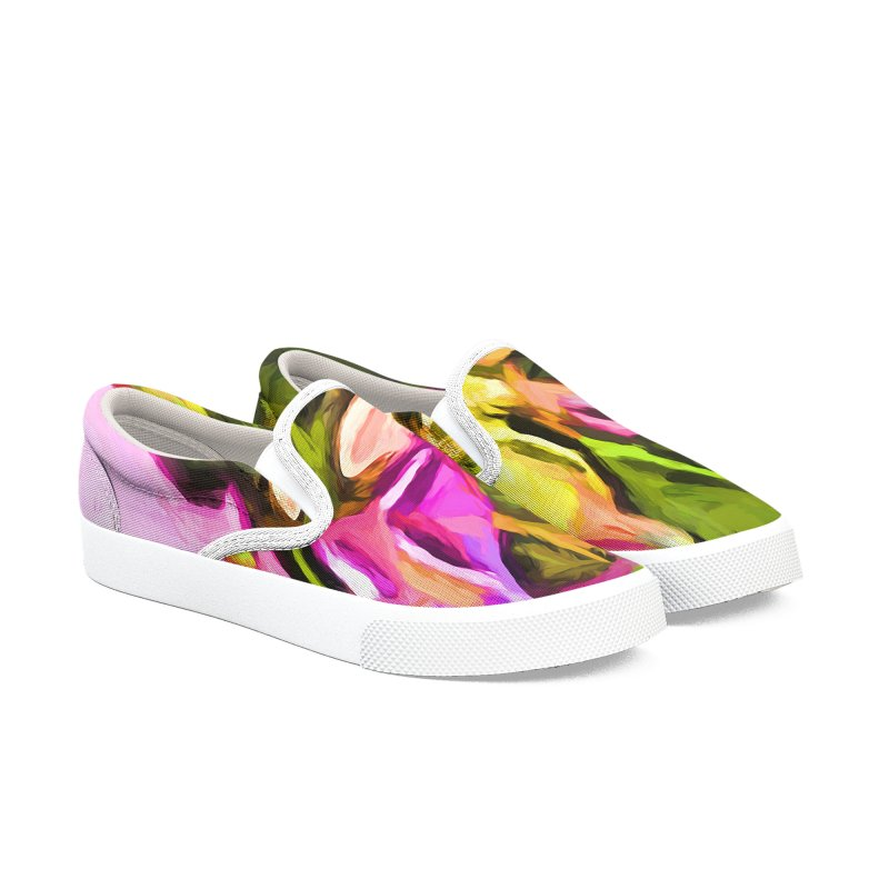 Big Daisy Evaporating Men's Slip-On Shoes by jackievano's Artist Shop