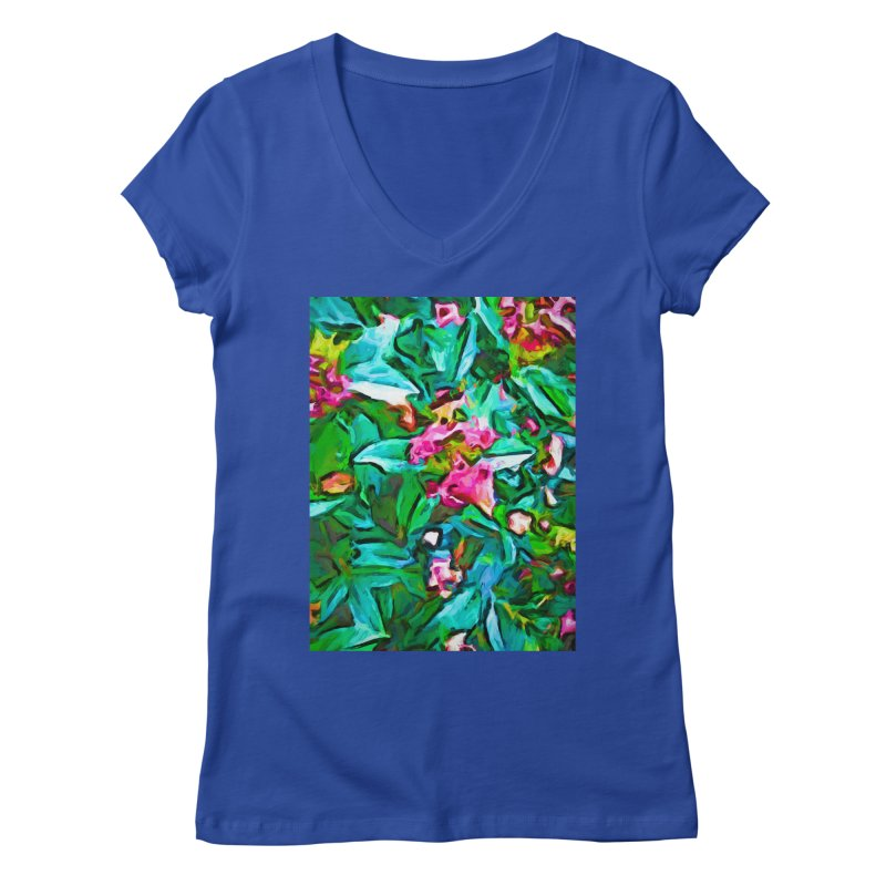 Light on Leaves and Pink Buds Women's Regular V-Neck by jackievano's Artist Shop