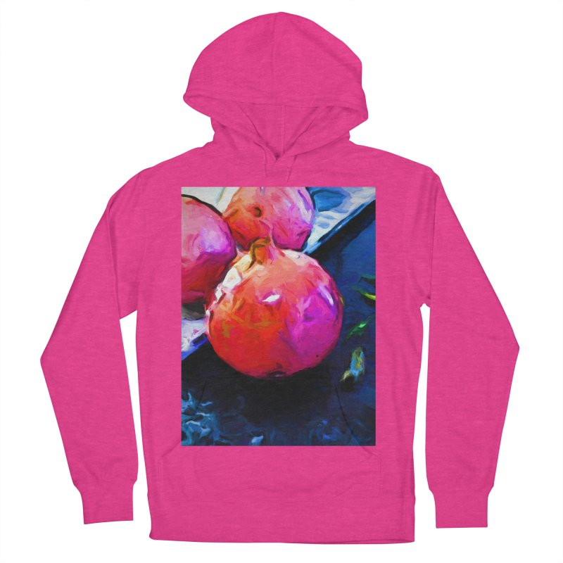 Blue Light on Red Pomegranates Women's French Terry Pullover Hoody by jackievano's Artist Shop