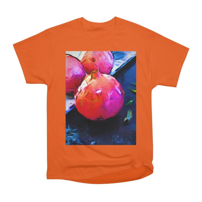 Blue Light on Red Pomegranates Men's Heavyweight T-Shirt by jackievano's Artist Shop