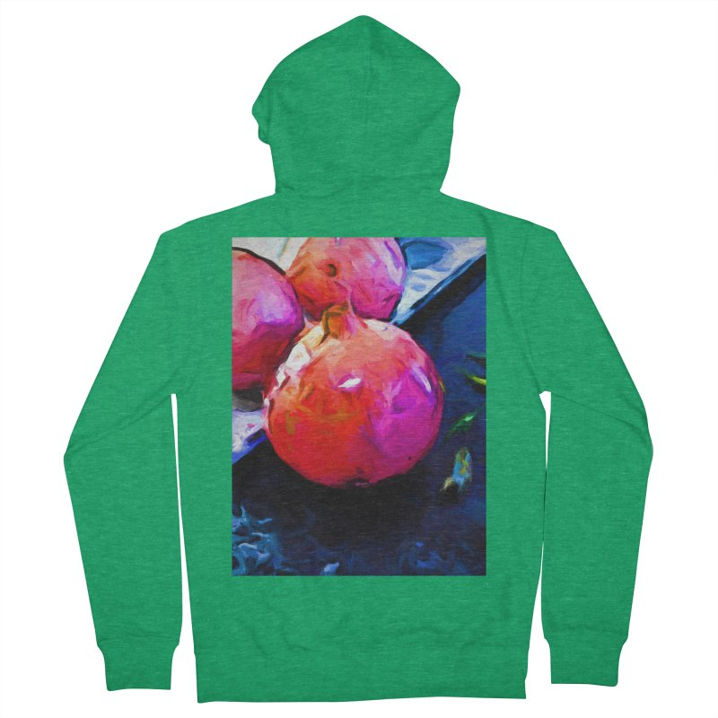 Blue Light on Red Pomegranates Women's French Terry Zip-Up Hoody by jackievano's Artist Shop