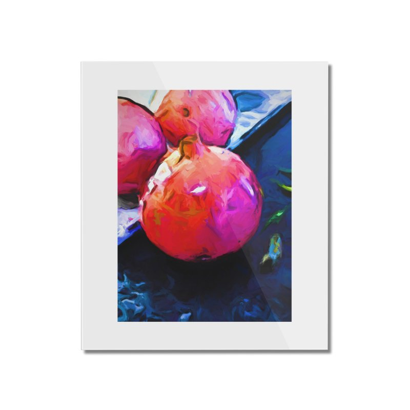 Blue Light on Red Pomegranates Home Mounted Acrylic Print by jackievano's Artist Shop