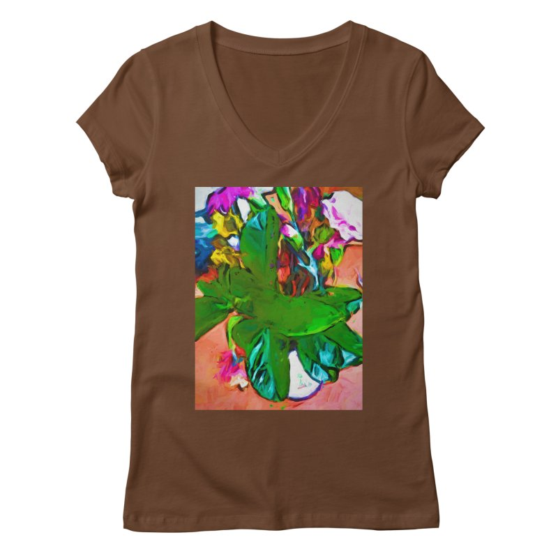 Vase with Plant Women's Regular V-Neck by jackievano's Artist Shop
