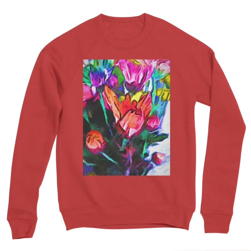 Red Flower in Rainbow Bouquet Women's Sponge Fleece Sweatshirt by jackievano's Artist Shop