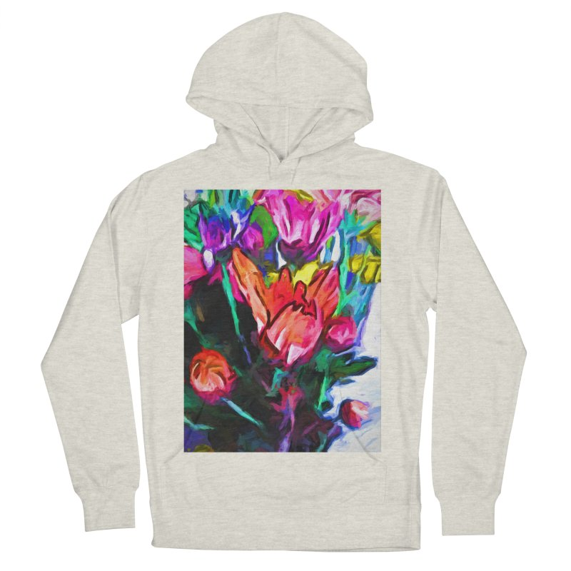 Red Flower in Rainbow Bouquet Women's French Terry Pullover Hoody by jackievano's Artist Shop
