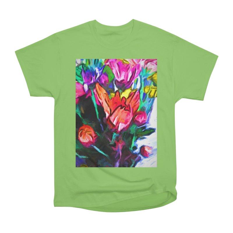 Red Flower in Rainbow Bouquet Men's Heavyweight T-Shirt by jackievano's Artist Shop