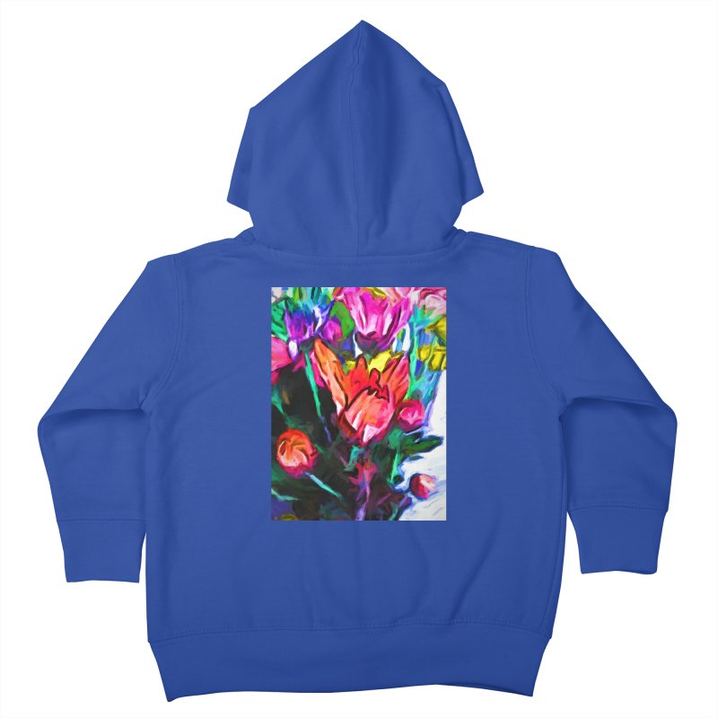 Red Flower in Rainbow Bouquet Kids Toddler Zip-Up Hoody by jackievano's Artist Shop