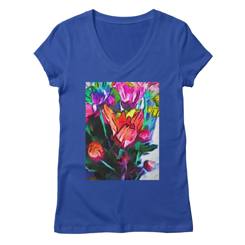 Red Flower in Rainbow Bouquet Women's Regular V-Neck by jackievano's Artist Shop