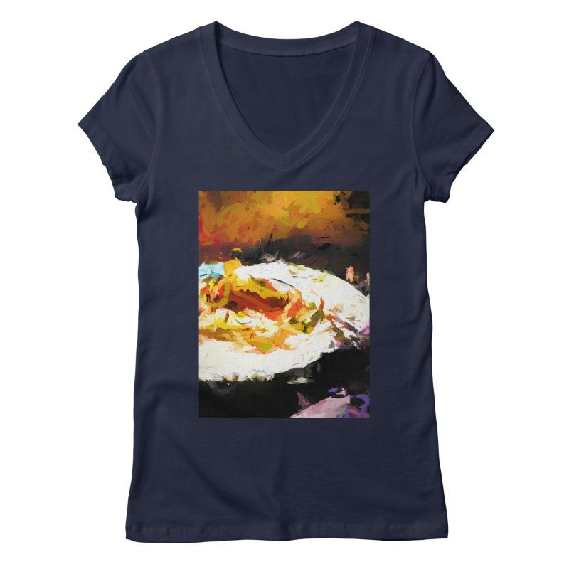 Crumbed Chicken Sandwich Women's Regular V-Neck by jackievano's Artist Shop
