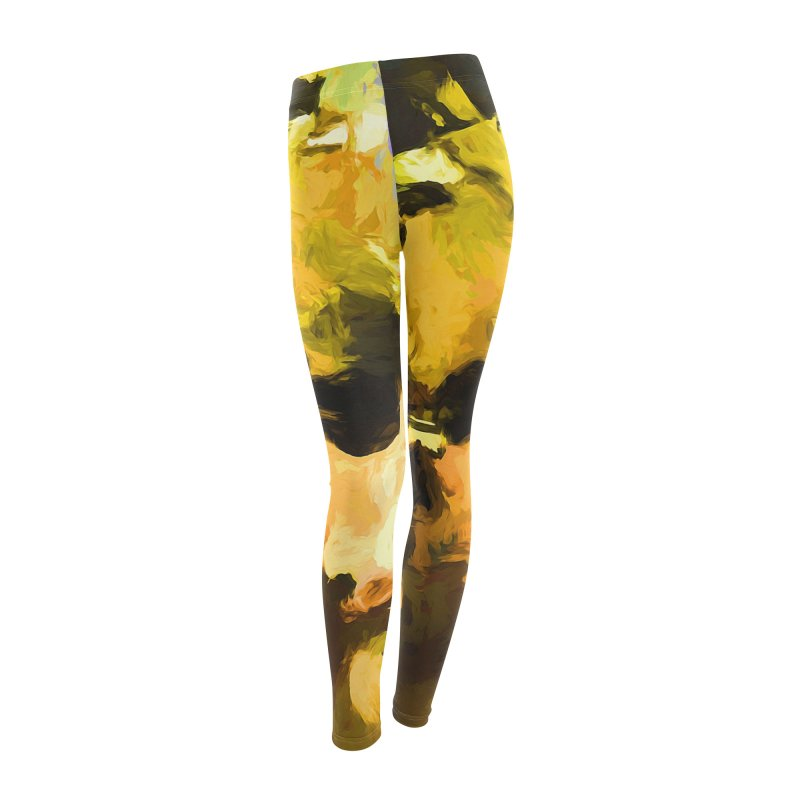 Yellow Square Scoop Women's Leggings Bottoms by jackievano's Artist Shop