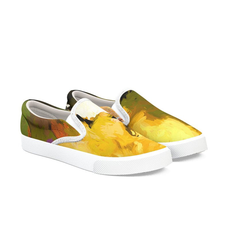 White Flower Eye Men's Slip-On Shoes by jackievano's Artist Shop
