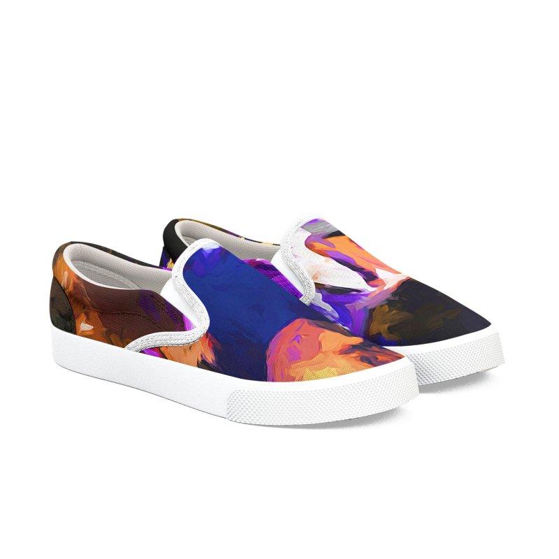 Jellyfish Lavender Flower Men's Slip-On Shoes by jackievano's Artist Shop