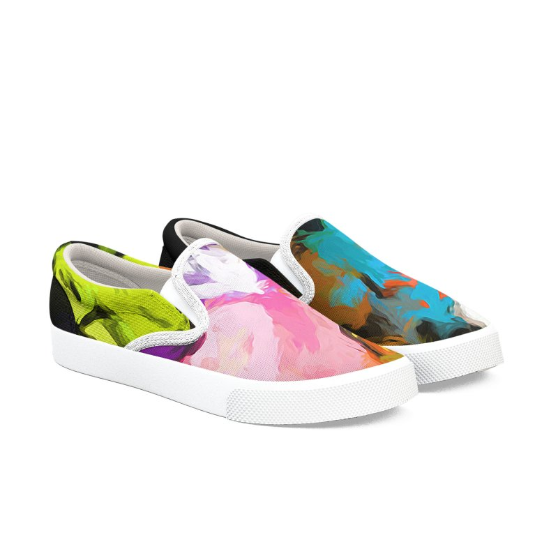 Pineapple Lime Pink Men's Slip-On Shoes by jackievano's Artist Shop