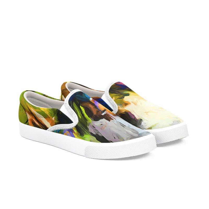 Blue Orange Green Men's Slip-On Shoes by jackievano's Artist Shop