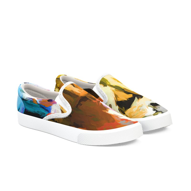 Ghost Cat Men's Slip-On Shoes by jackievano's Artist Shop