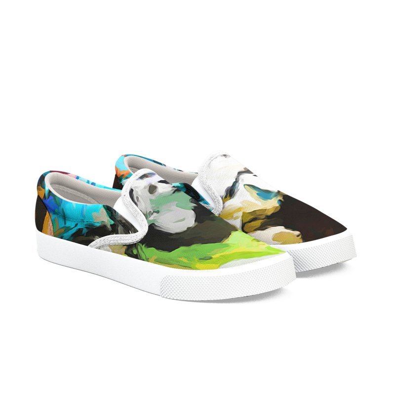Green Windowsill in a Room Men's Slip-On Shoes by jackievano's Artist Shop