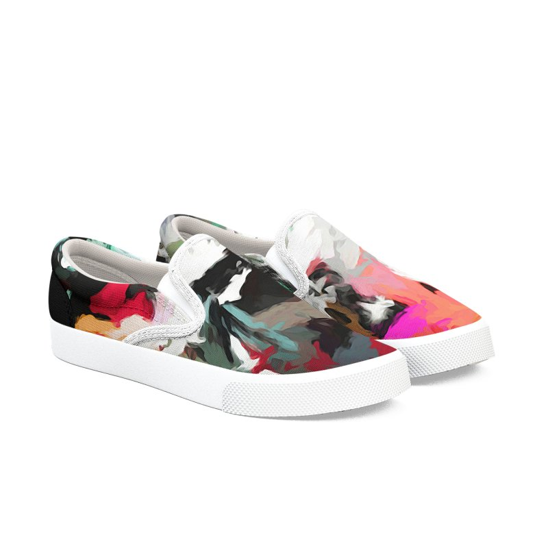 Square Moon in a Pink Sky Men's Slip-On Shoes by jackievano's Artist Shop