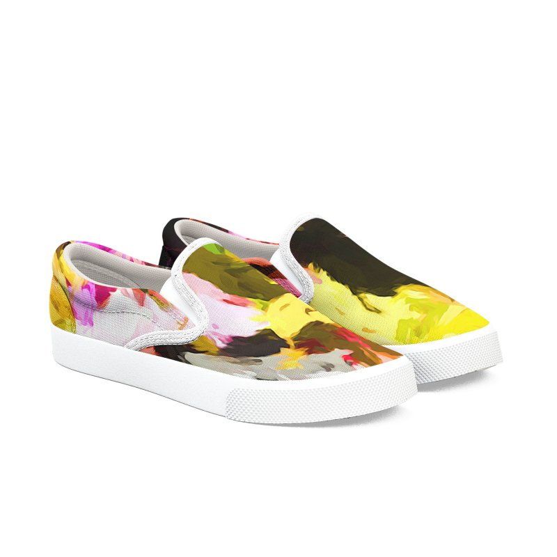 Pink Triangle in a Canola Field Men's Slip-On Shoes by jackievano's Artist Shop