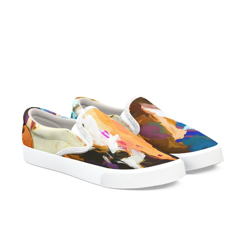 Cat and the Dander Effect Men's Slip-On Shoes by jackievano's Artist Shop