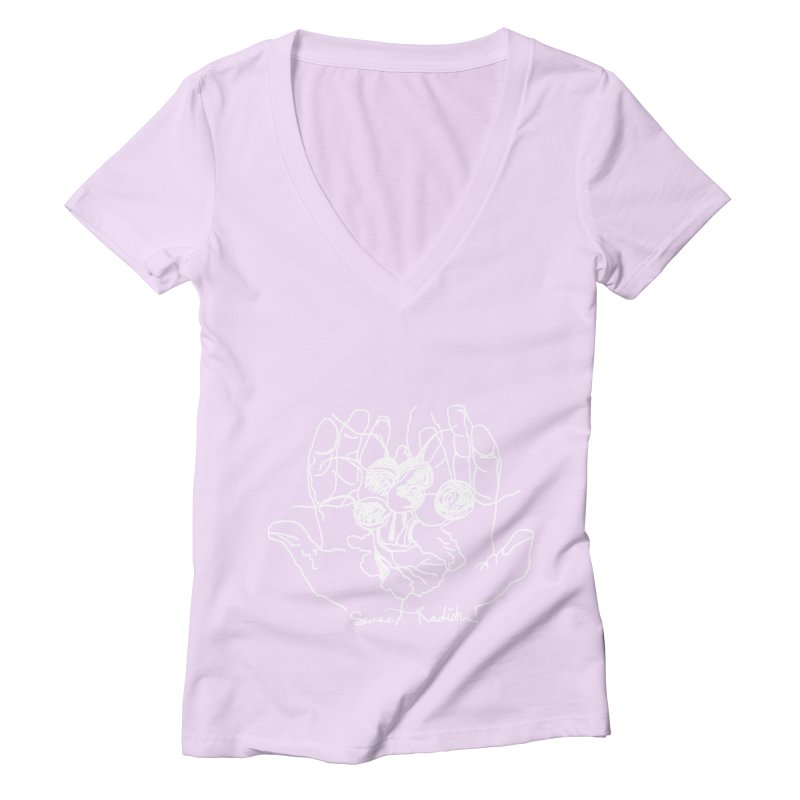 RADISH HANDS Women's V-Neck by jackrabbithollow's Artist Shop