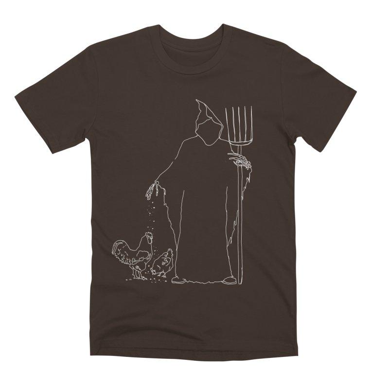 Grim Farmer the Chicken Enthusiast Men's Premium T-Shirt by jackrabbithollow's Artist Shop