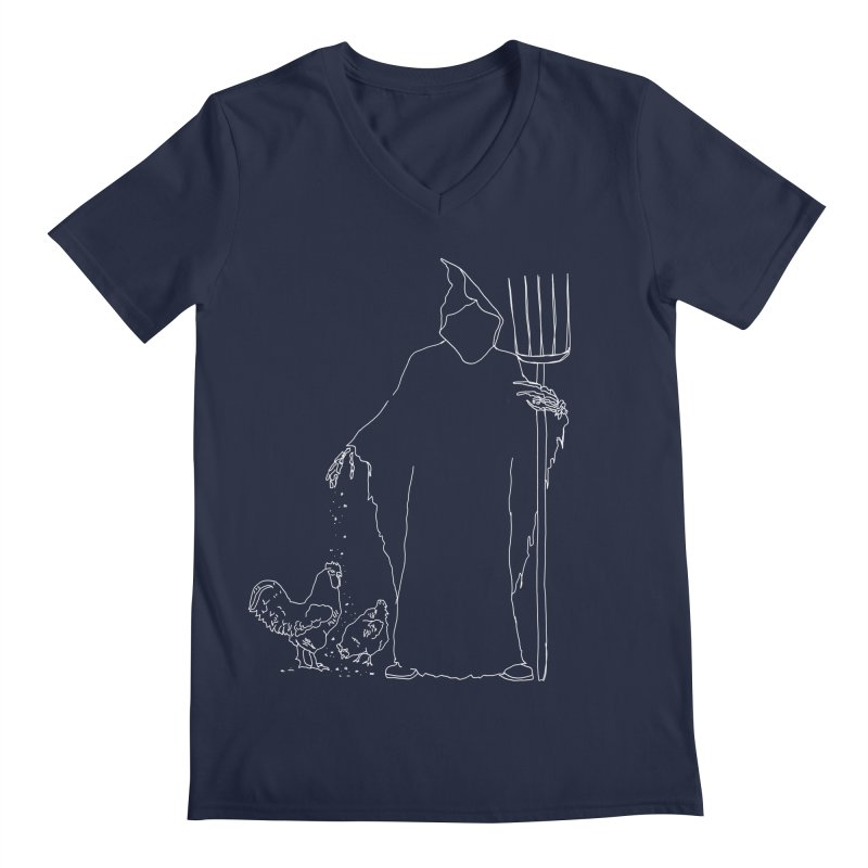 Grim Farmer the Chicken Enthusiast Men's Regular V-Neck by jackrabbithollow's Artist Shop