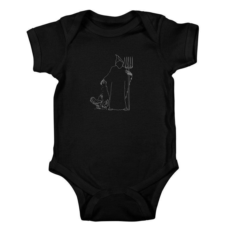 Grim Farmer the Chicken Enthusiast Kids Baby Bodysuit by jackrabbithollow's Artist Shop