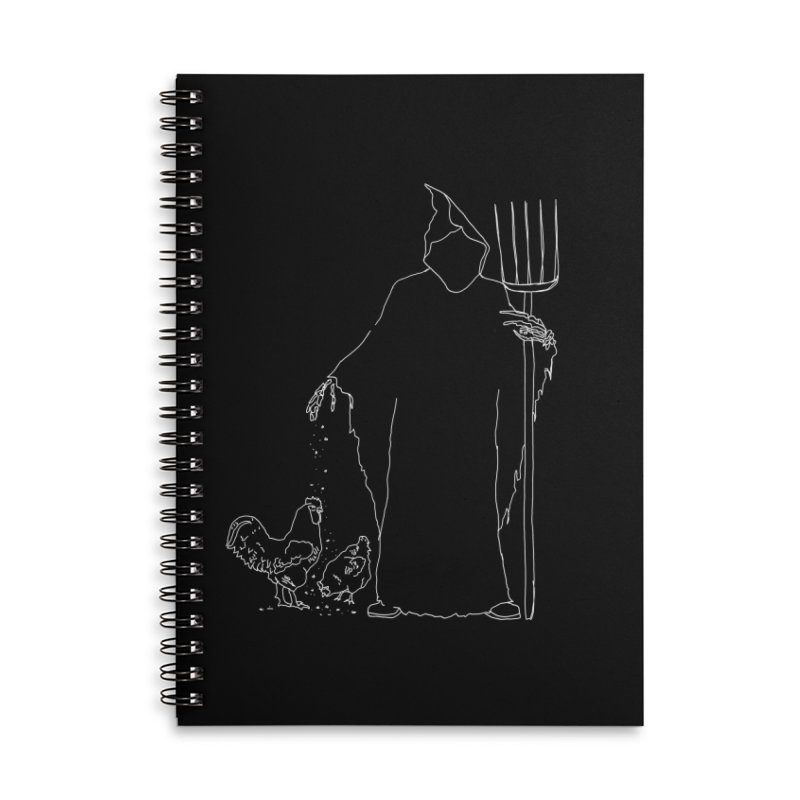 Grim Farmer the Chicken Enthusiast Accessories Lined Spiral Notebook by jackrabbithollow's Artist Shop