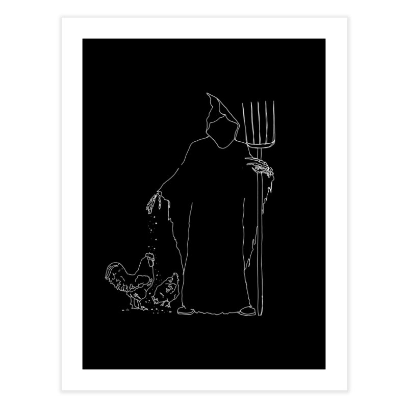 Grim Farmer the Chicken Enthusiast Home Fine Art Print by jackrabbithollow's Artist Shop