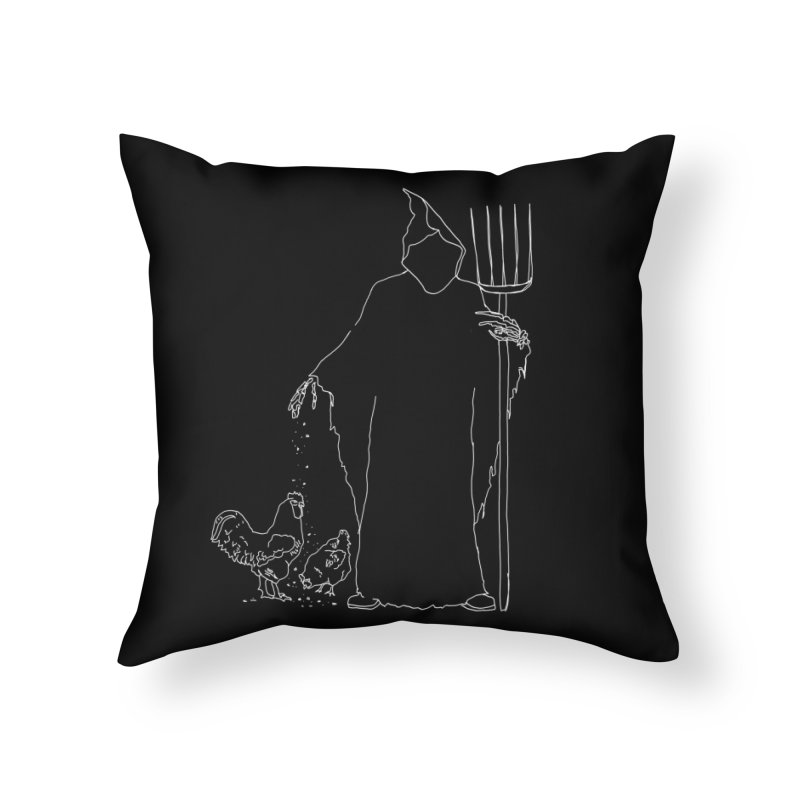 Grim Farmer the Chicken Enthusiast Home Throw Pillow by jackrabbithollow's Artist Shop