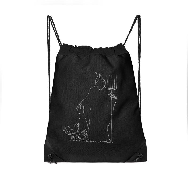 Grim Farmer the Chicken Enthusiast Accessories Drawstring Bag Bag by jackrabbithollow's Artist Shop