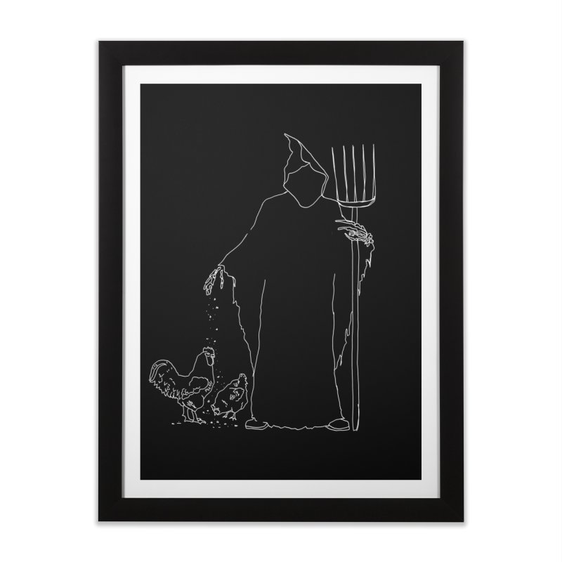 Grim Farmer the Chicken Enthusiast Home Framed Fine Art Print by jackrabbithollow's Artist Shop