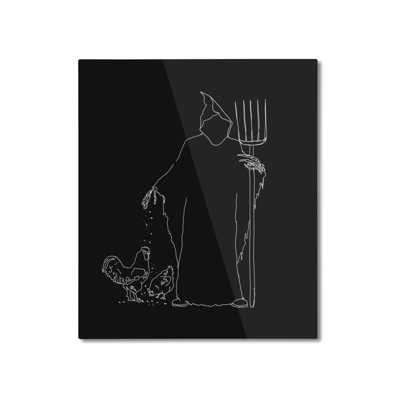 Grim Farmer the Chicken Enthusiast Home Mounted Aluminum Print by jackrabbithollow's Artist Shop
