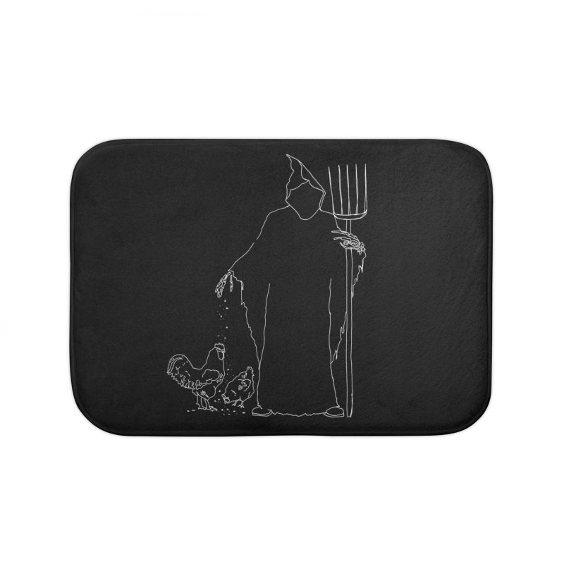 Grim Farmer the Chicken Enthusiast Home Bath Mat by jackrabbithollow's Artist Shop