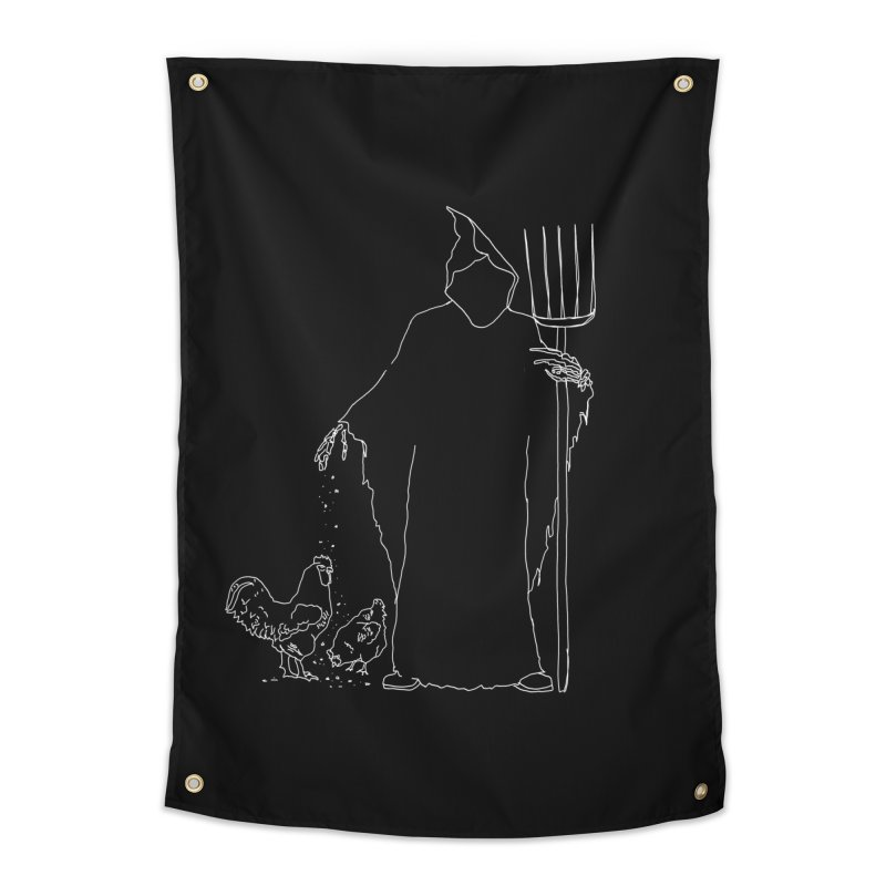 Grim Farmer the Chicken Enthusiast Home Tapestry by jackrabbithollow's Artist Shop