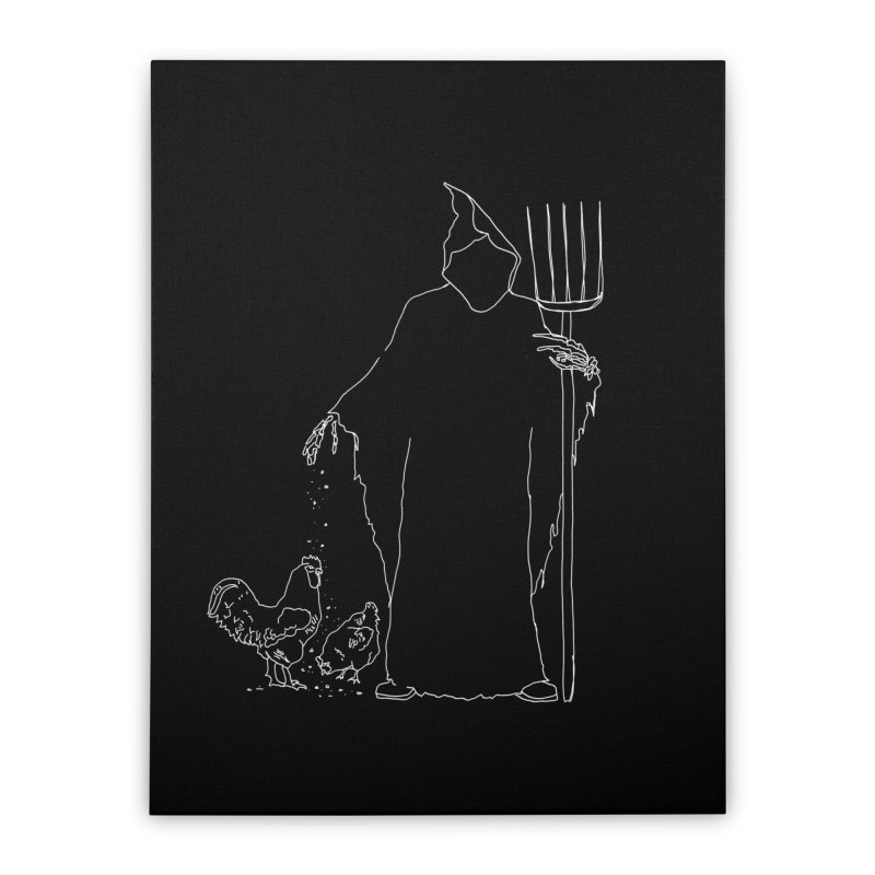 Grim Farmer the Chicken Enthusiast Home Stretched Canvas by jackrabbithollow's Artist Shop