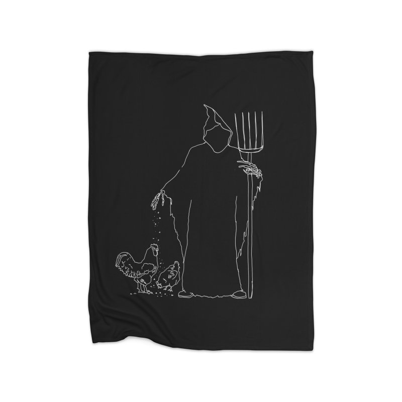 Grim Farmer the Chicken Enthusiast Home Fleece Blanket Blanket by jackrabbithollow's Artist Shop