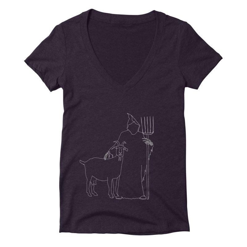 Grim the Farmer & Goat Enthusiast Women's Deep V-Neck V-Neck by jackrabbithollow's Artist Shop