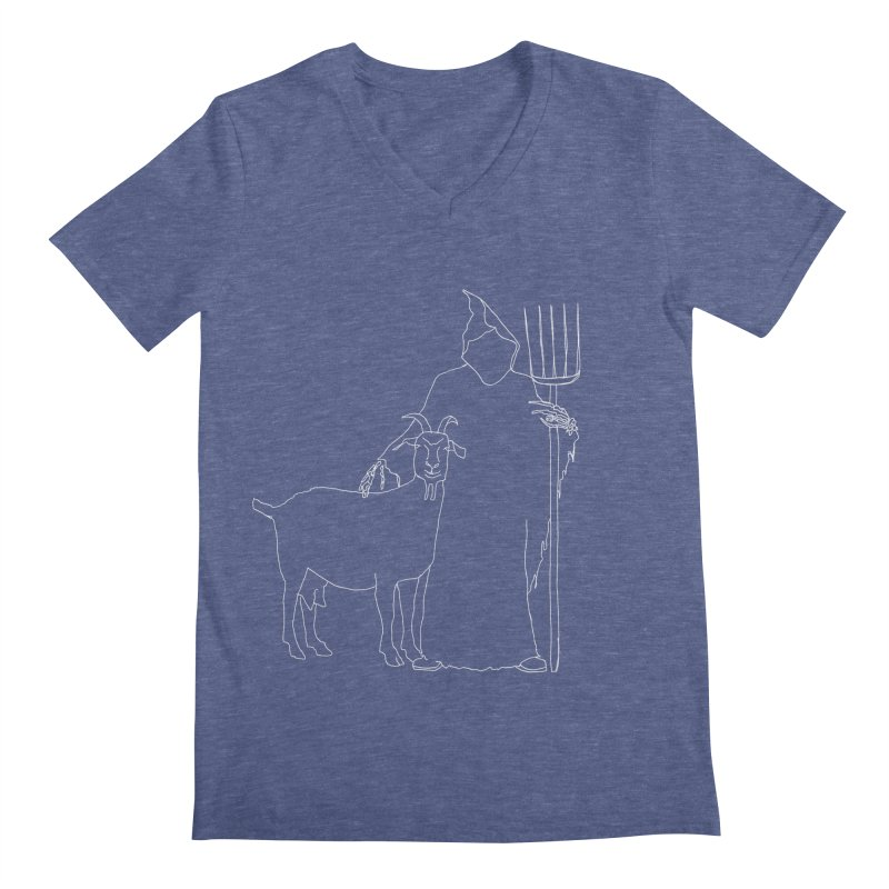 Grim the Farmer & Goat Enthusiast Men's Regular V-Neck by jackrabbithollow's Artist Shop