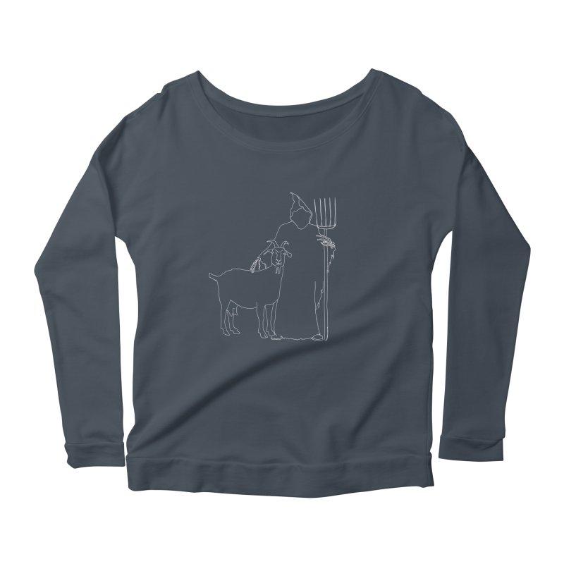 Grim the Farmer & Goat Enthusiast Women's Scoop Neck Longsleeve T-Shirt by jackrabbithollow's Artist Shop
